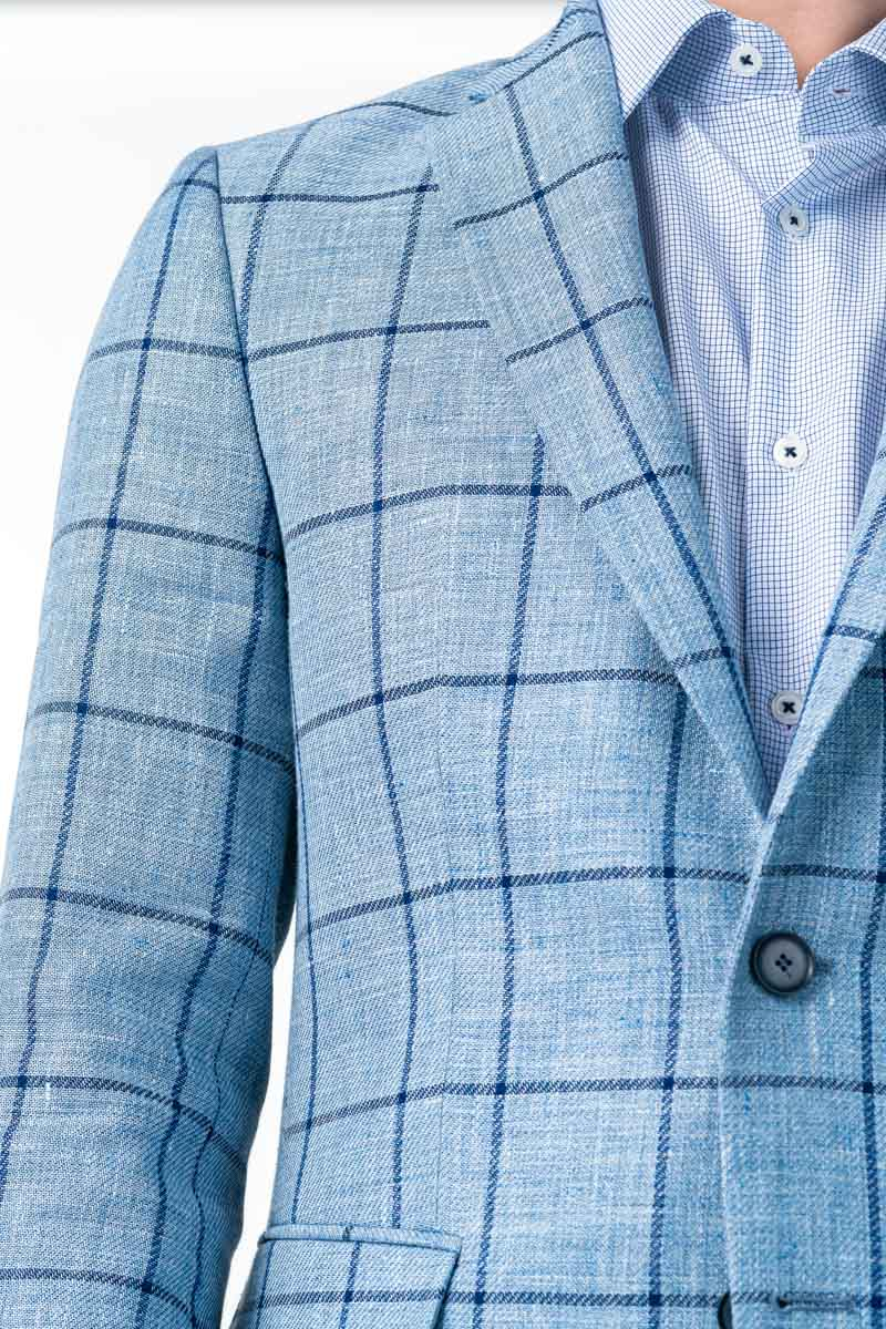 Varteks Light blue plaid men's blazer - Regular fit
