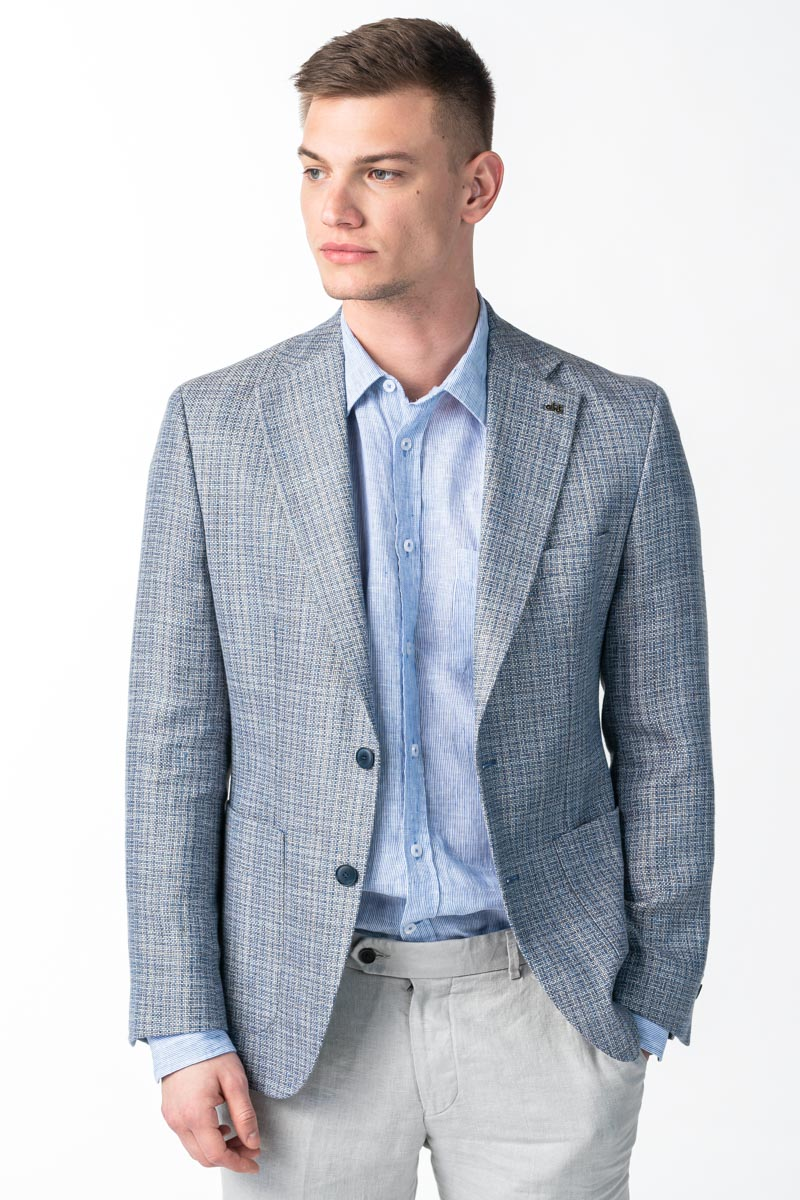 Varteks Men's blue gray plaid blazer - Regular fit