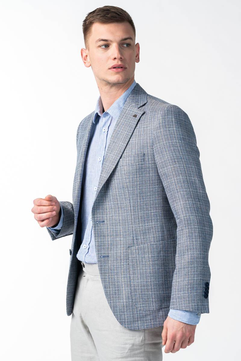 Varteks Muški sivo plavi karirani sako - Regular fit