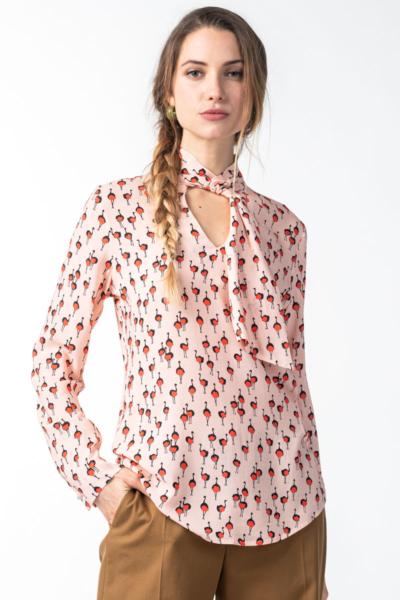 Varteks Women's pink bow shirt