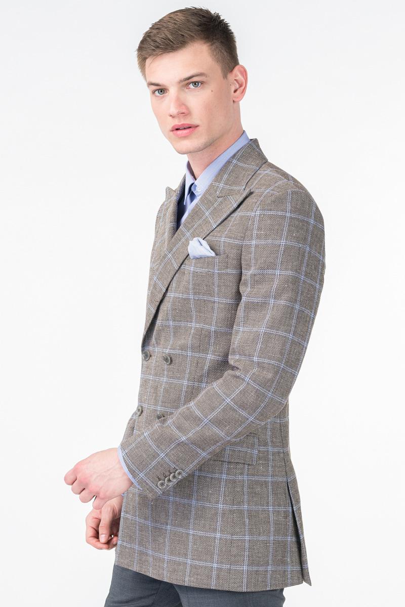 Varteks Men's double breasted grey blazer - Slim fit