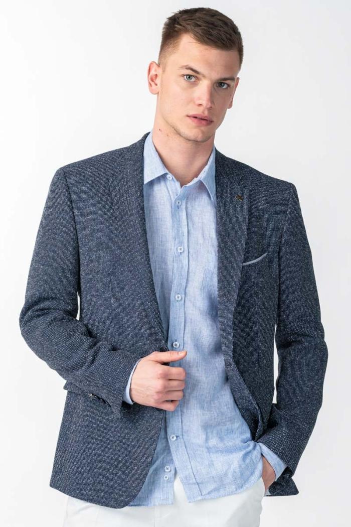 Varteks Muški točkasti tamno plavi sako