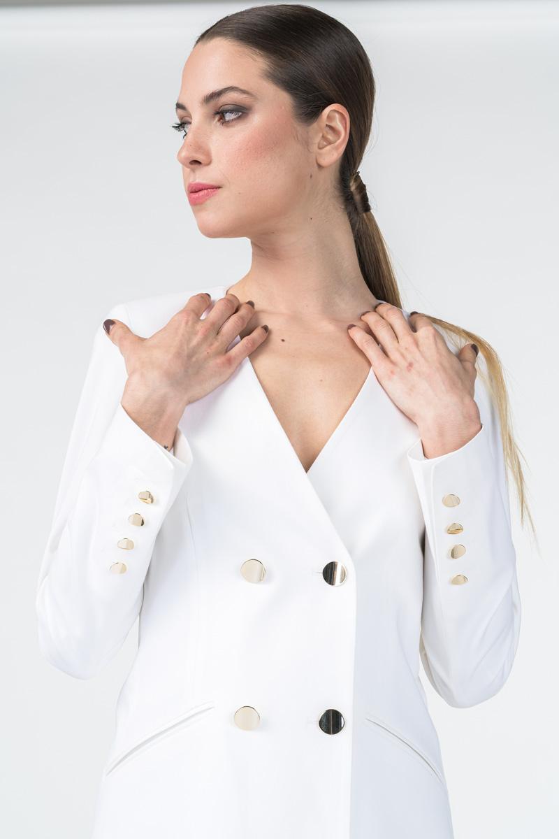 Bijeli ženski sako dvorednog kopčanja