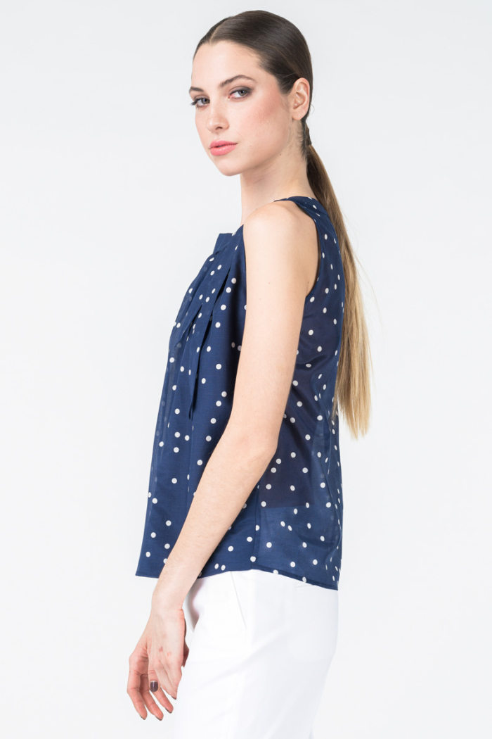 Ženska bluza bez rukava s točkicama