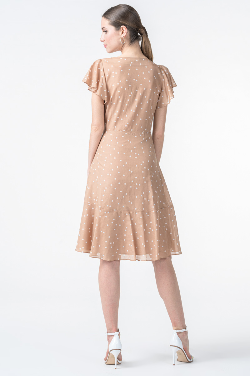 Bež haljina točkastog uzorka