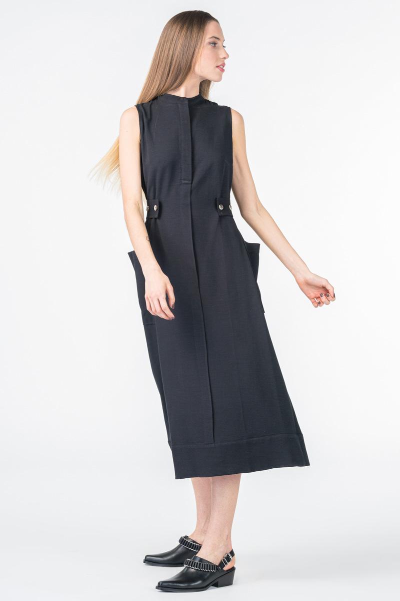 Varteks Ženska crna haljina s ukrasnim gumbima