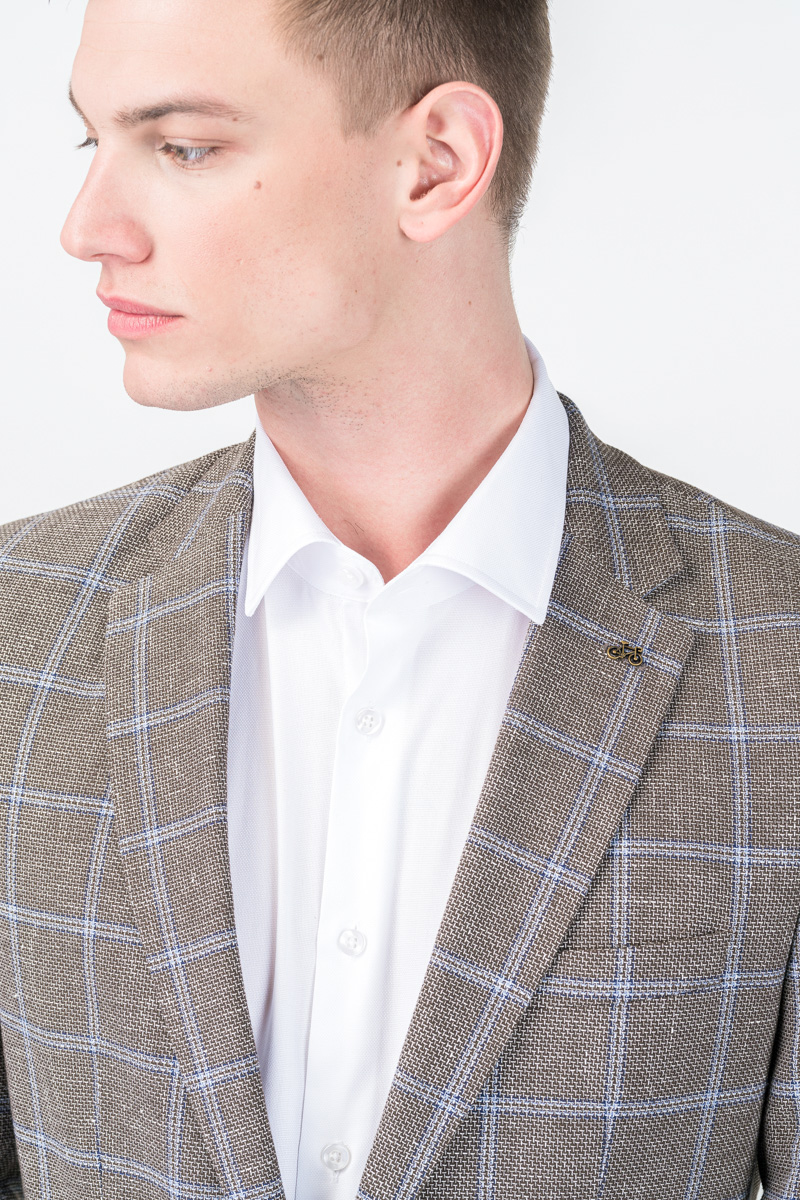 Varteks Men's grey plaid blazer - Regular fit