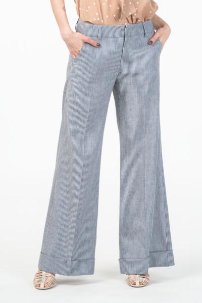 Ženske široke sive hlače s decentnim crtama