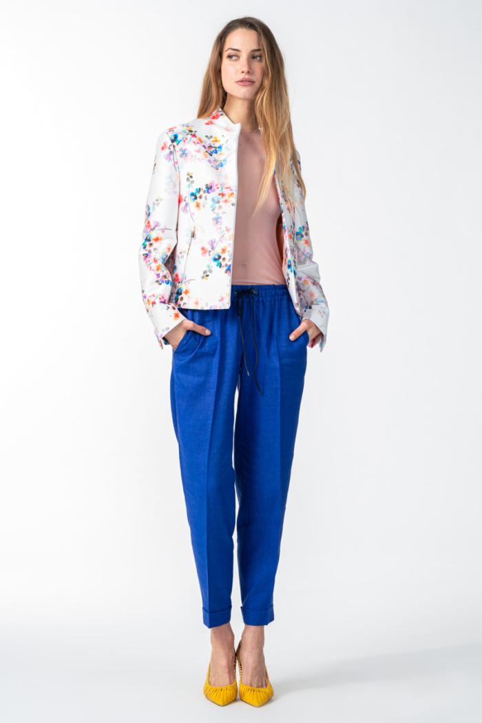 Varteks Ženske indigo plave hlače na vezanje