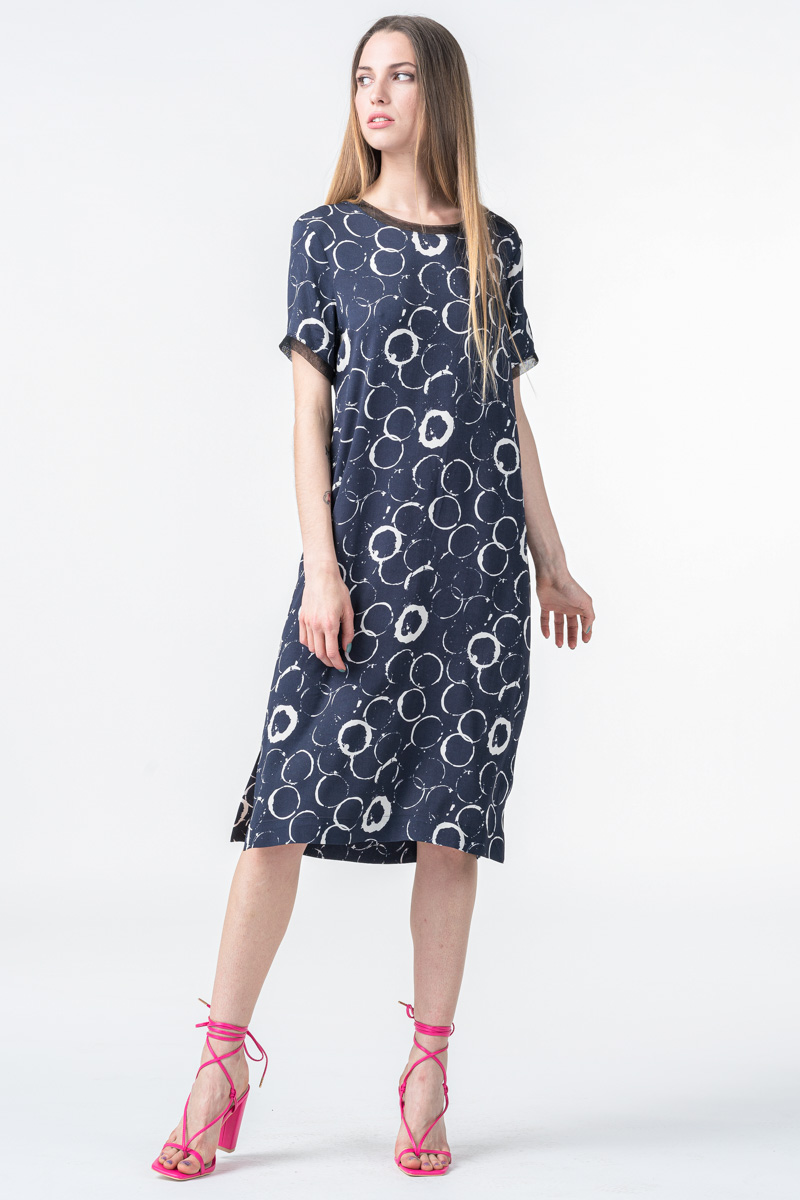 Tamno plava haljina ravnog kroja