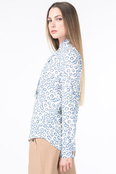 Varteks Women's white blouse with bubble pattern