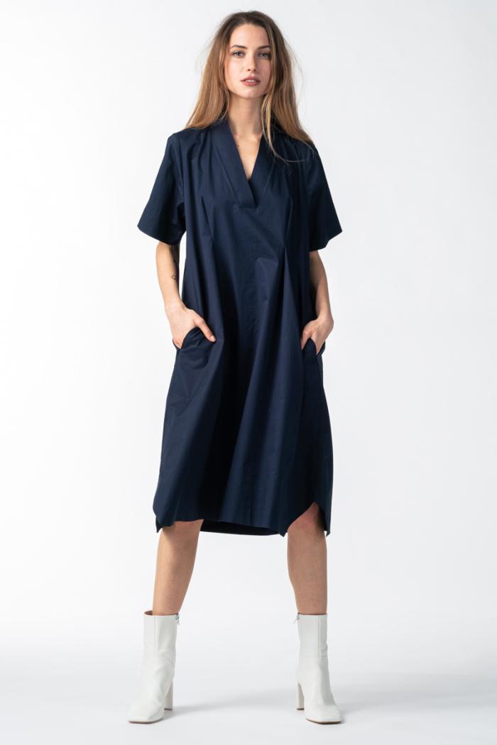 Varteks Tamno plava ženska haljina šireg kroja