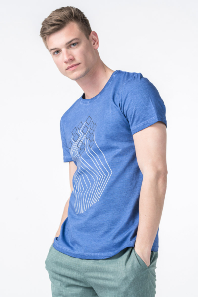 Varteks Men's blue T-shirt with short sleeves