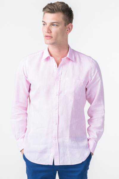 Varteks Men's linen pink shirt