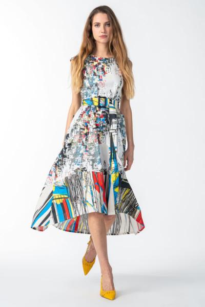Varteks Bijela haljina sa šarenim printom