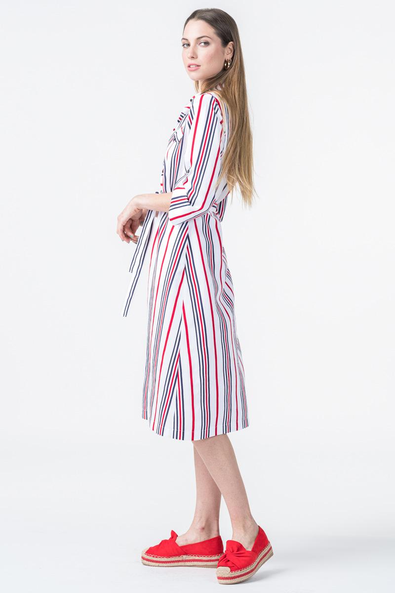 Ženska bijela haljina s prugicama