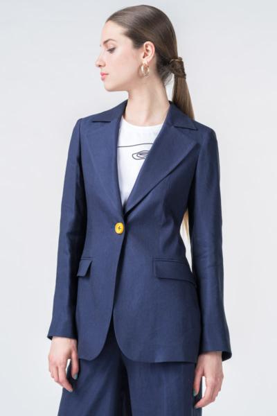 Ženski dugi tamno plavi sako
