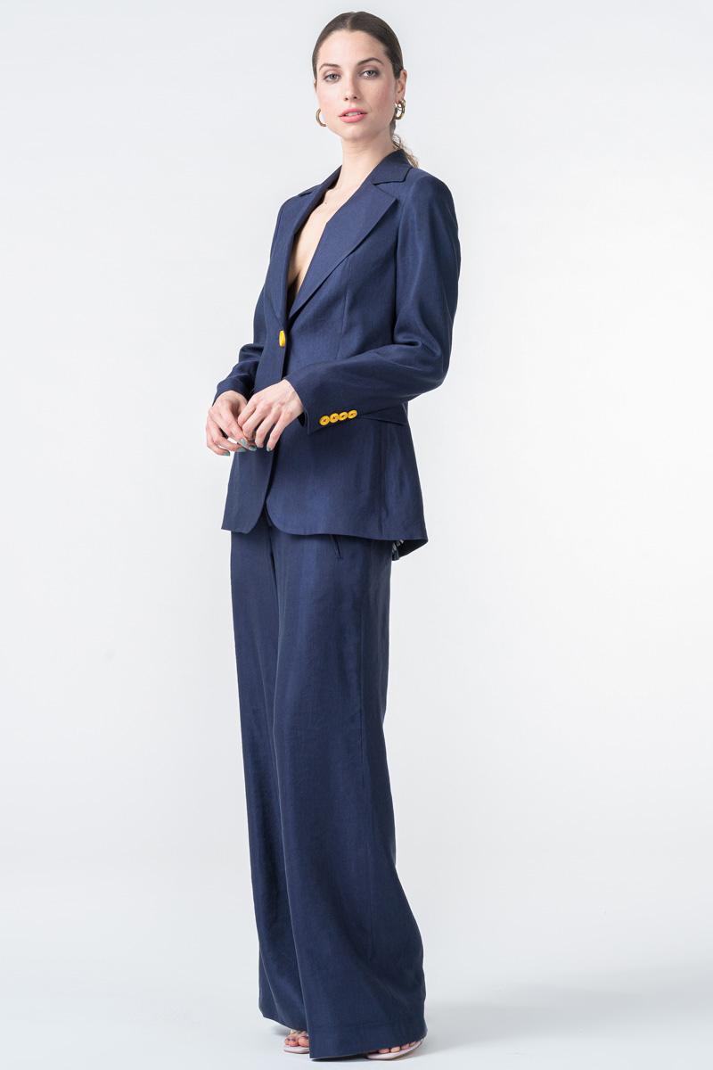 Ženske tamno plave hlače šireg kroja