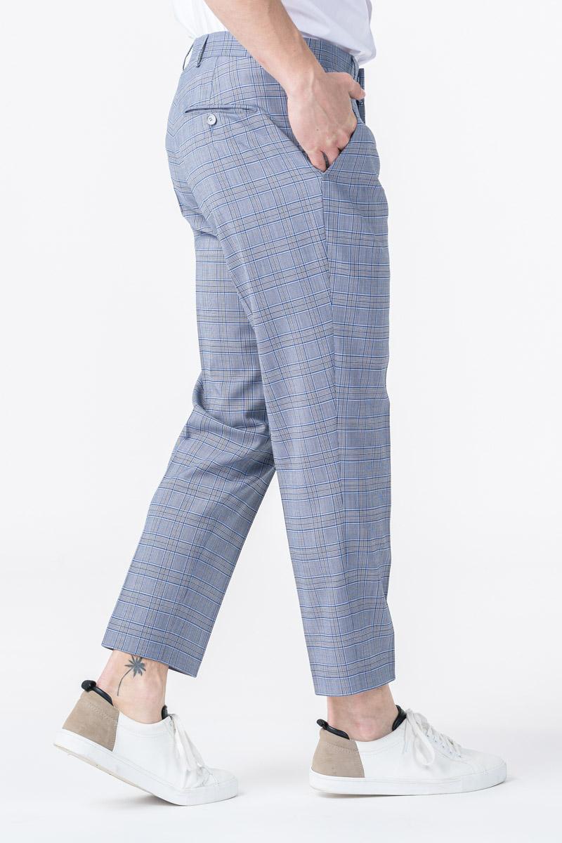 Varteks YOUNG - Blue-grey plaid men's trousers - Slim fit