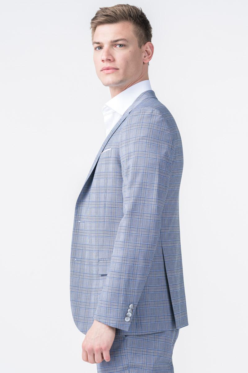 Varteks YOUNG - Blue grey plaid men's blazer - Slim fit