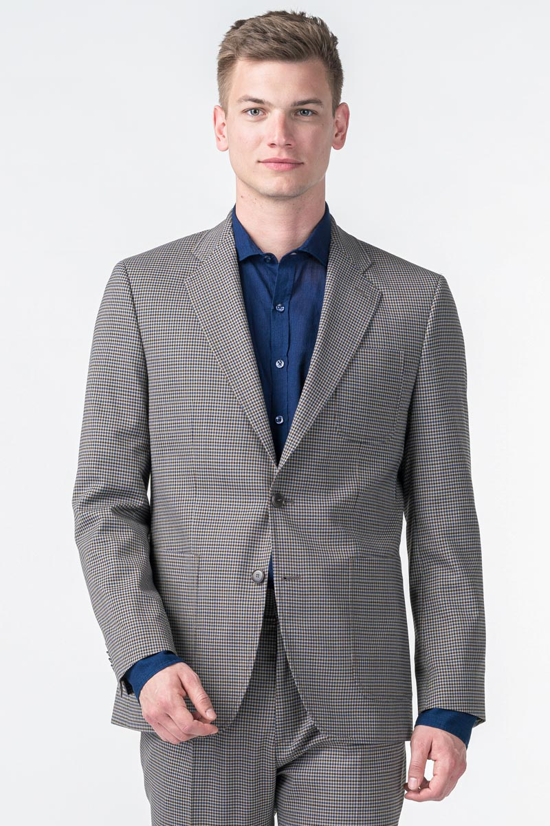 Varteks YOUNG - brown plaid men's blazer - Regular fit