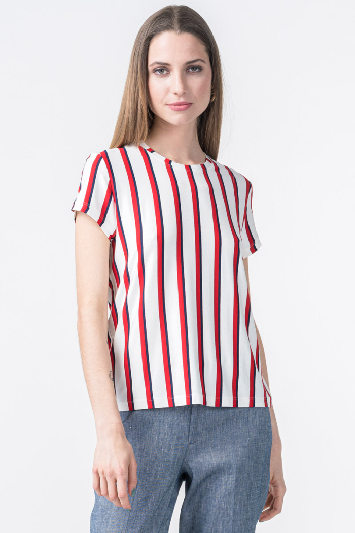 Prugasta ženska majica kratkih rukava u dvije boje