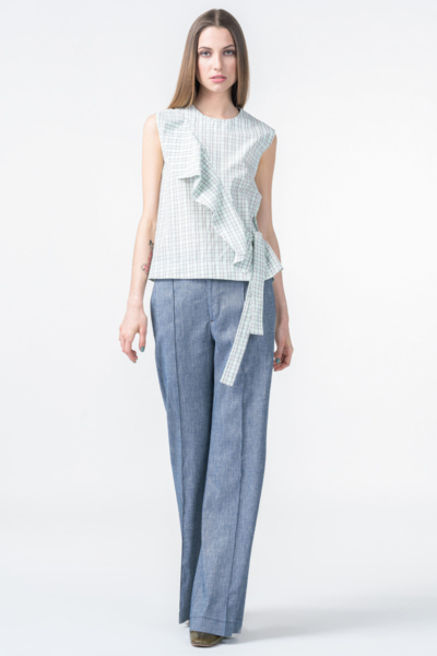 Ženske sive hlače trapez kroja