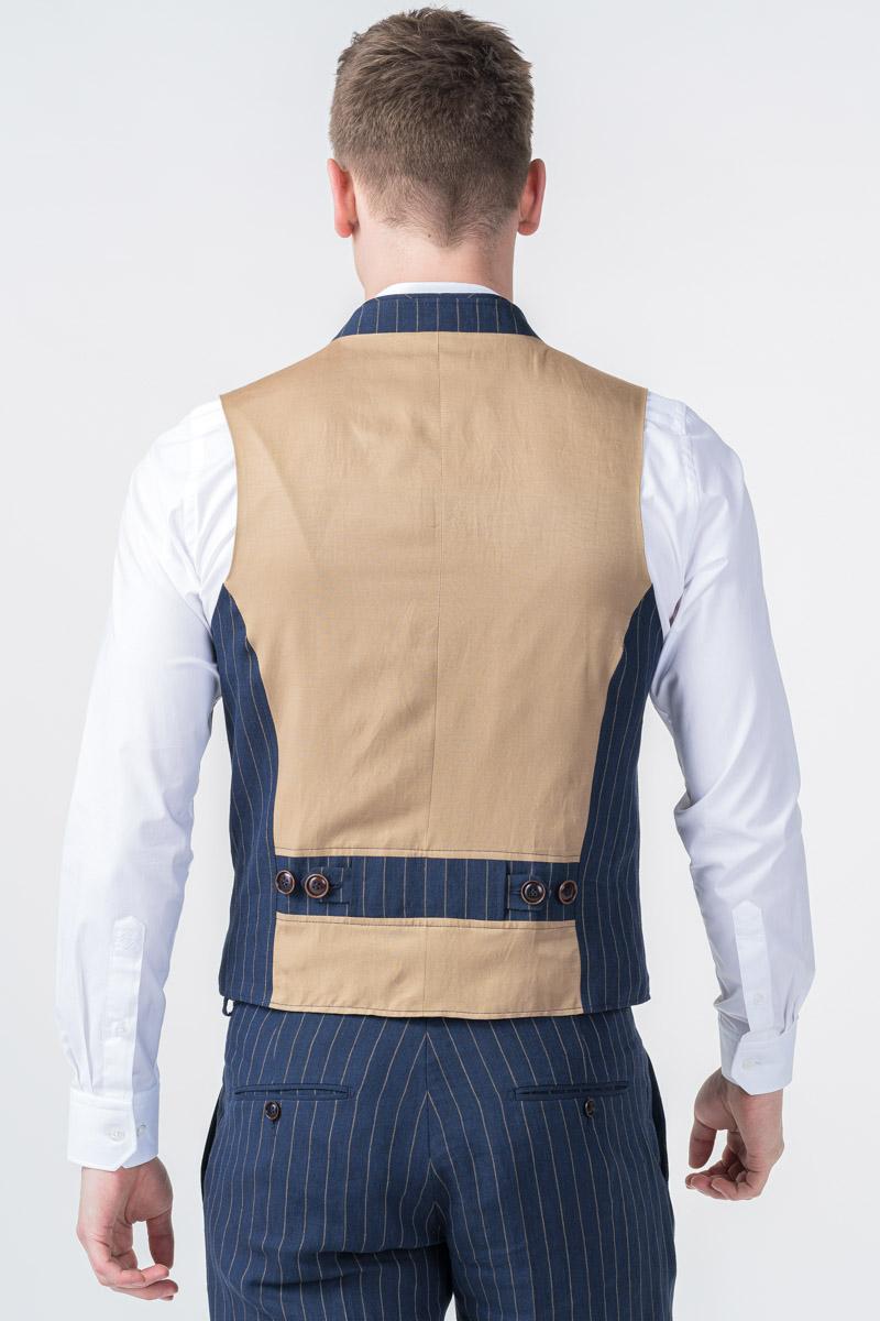 Laneni prugasti prsluk od odijela - Slim fit