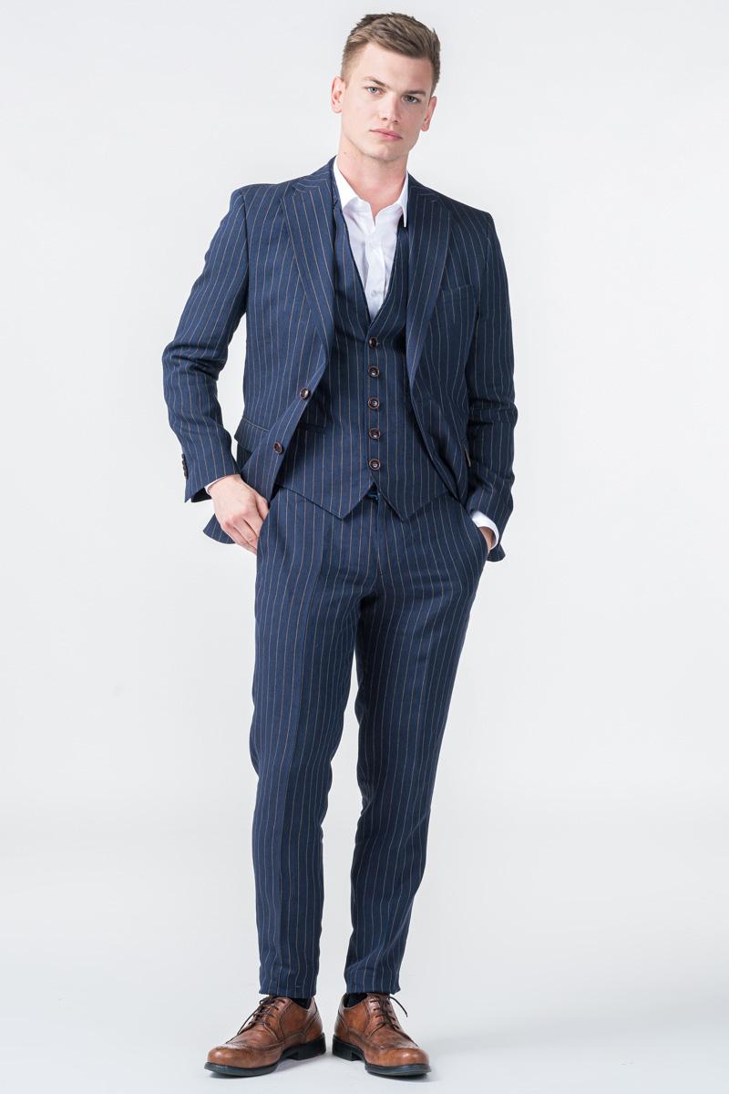 Lanene prugaste hlače od odijela - Regular fit