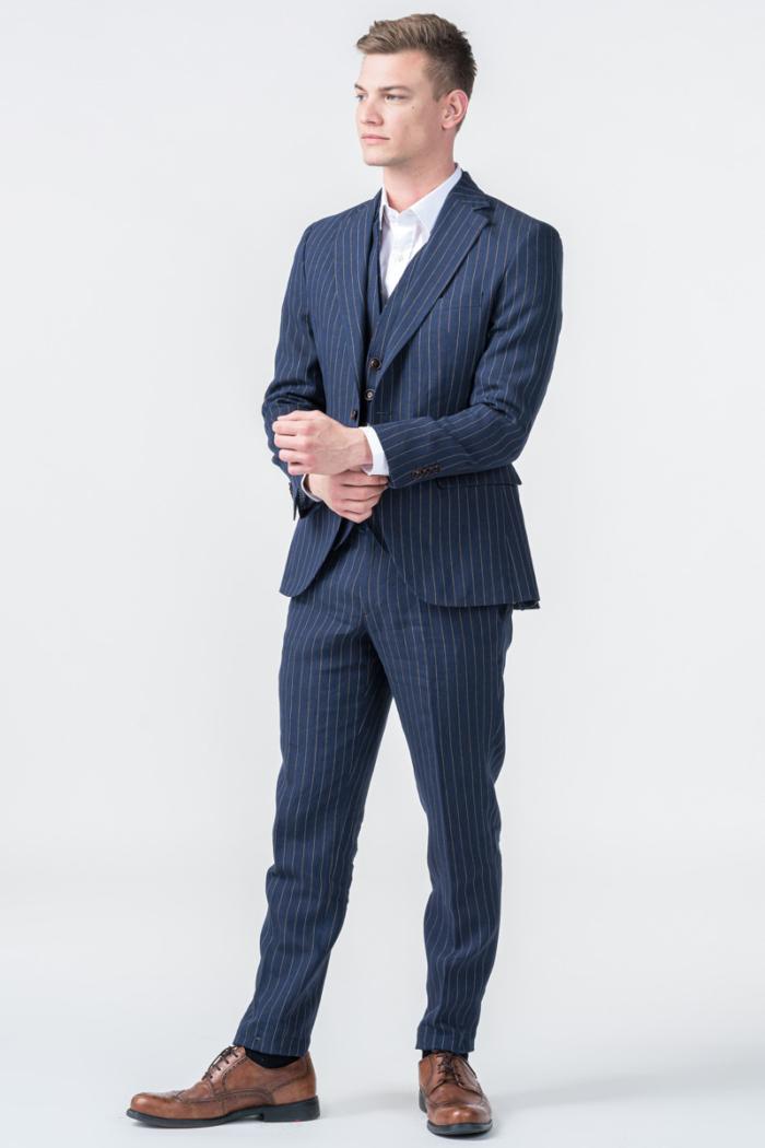 Laneni prugasti sako od odijela - Regular fit