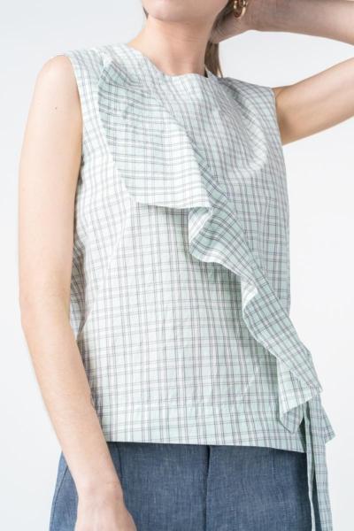 Varteks Ruffled plaid mint blouse