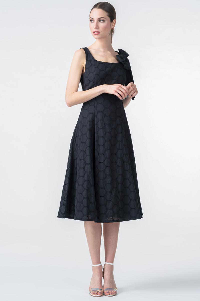 Varteks Ženska crna haljina s mašnom