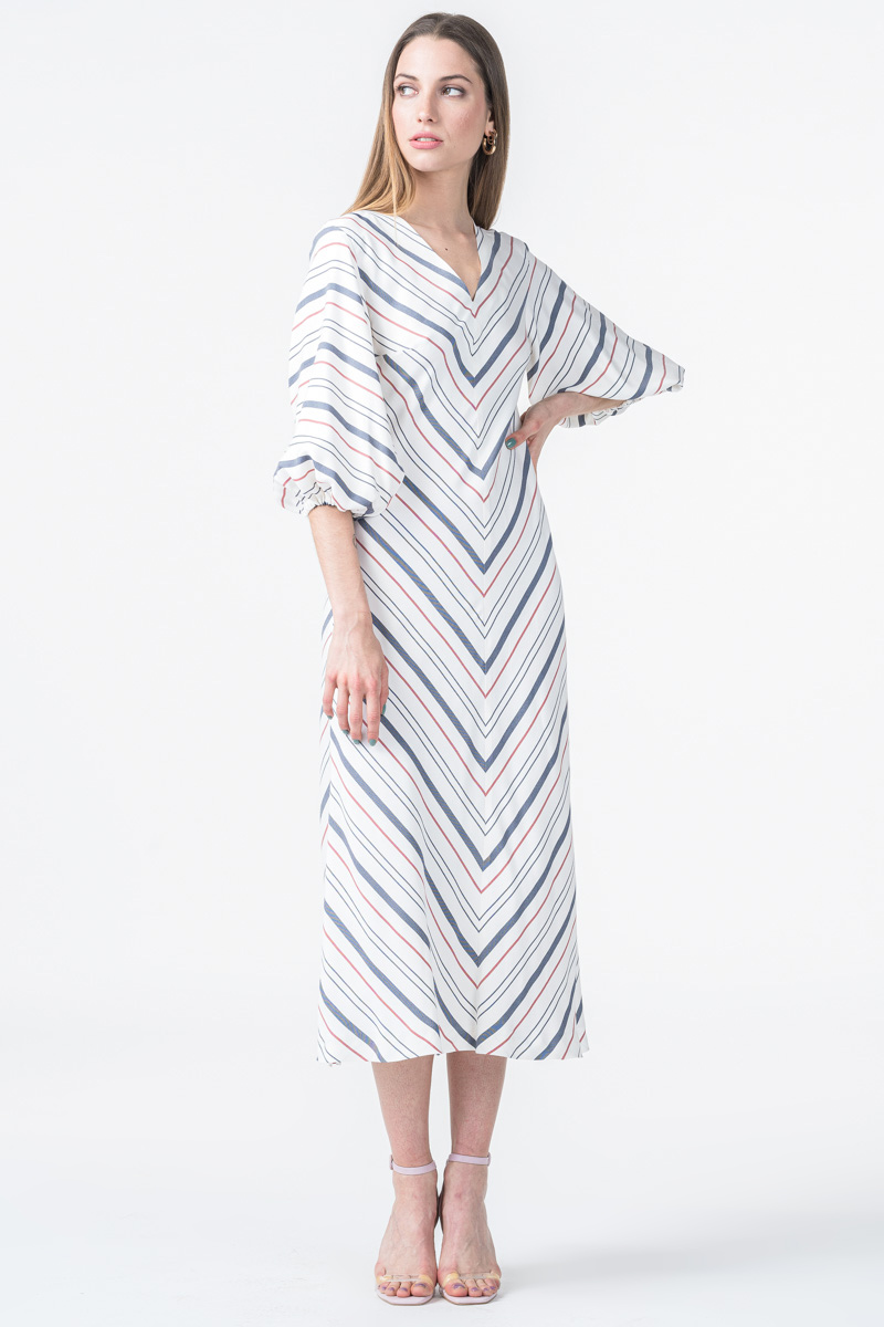 Varteks Bijela ženska haljina sa zanimljivim uzorkom