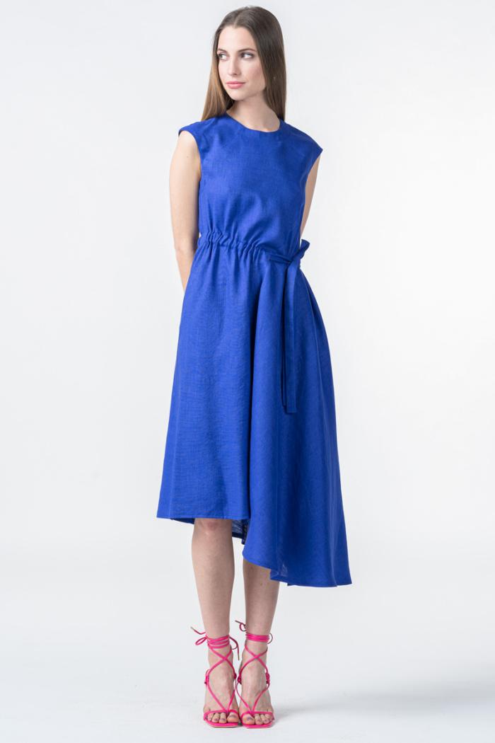 Varteks Ženska indigo plava asimetrična haljina
