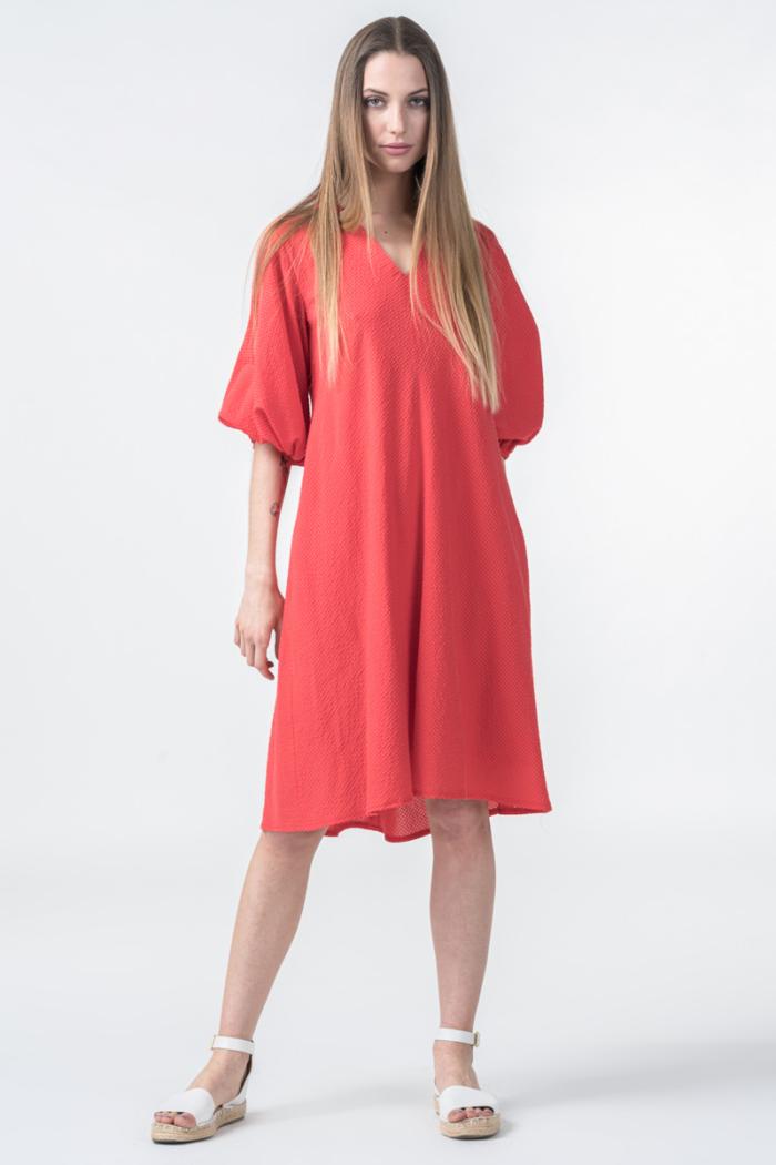 Ženska koraljno crvena haljina