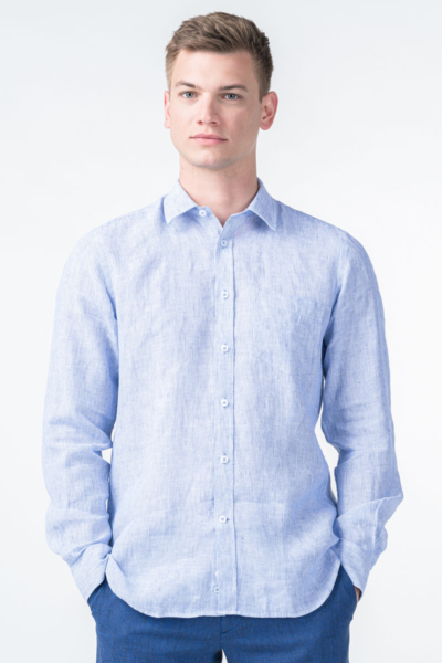 Varteks White blue linen men's shirt