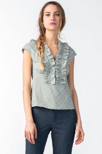 Women's green-white striped blouse