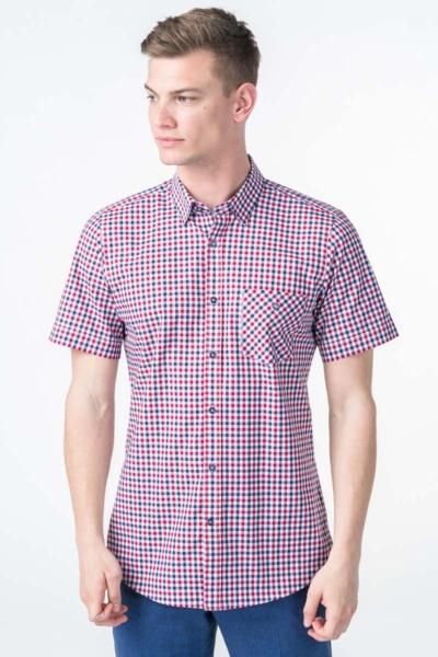 Plaid men's short-sleeved shirt - Slim fit