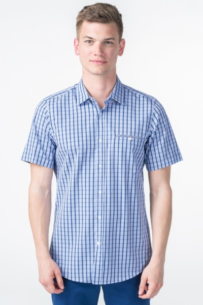 Men's blue plaid shirt - Slim fit