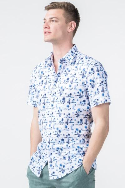Bijela muška košulja s uzorkom - Regular fit
