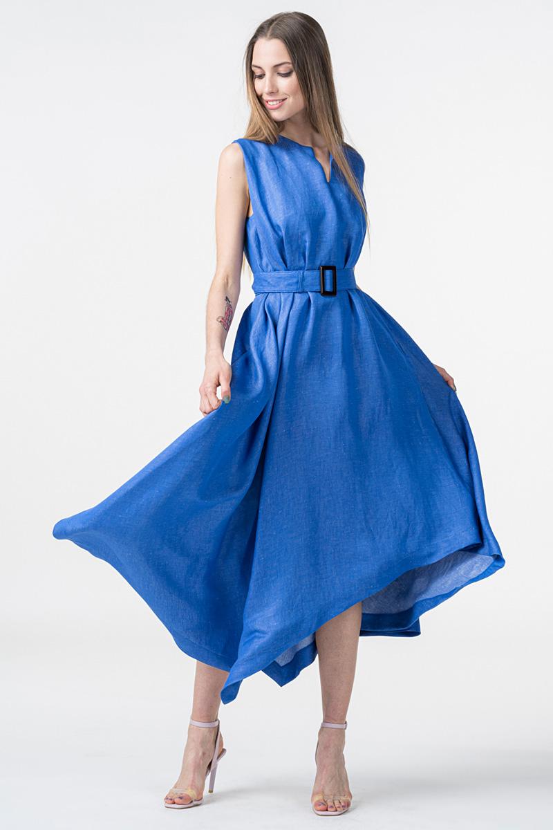 Denim plava haljina s pojasom